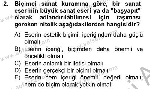 İngilizce Öğretmenliği Bölümü 4. Yarıyıl Güzel Sanatlar Dersi 2013 Yılı Bahar Dönemi Dönem Sonu Sınavı 2. Soru