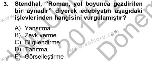 İngilizce Öğretmenliği Bölümü 4. Yarıyıl Güzel Sanatlar Dersi 2013 Yılı Bahar Dönemi Dönem Sonu Sınavı 3. Soru