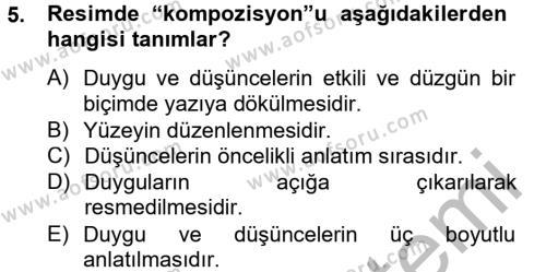 İngilizce Öğretmenliği Bölümü 4. Yarıyıl Güzel Sanatlar Dersi 2013 Yılı Bahar Dönemi Dönem Sonu Sınavı 5. Soru