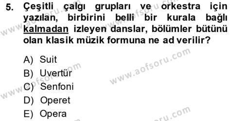 Felsefe Bölümü 4. Yarıyıl Güzel Sanatlar Dersi 2014 Yılı Bahar Dönemi Dönem Sonu Sınavı 5. Soru
