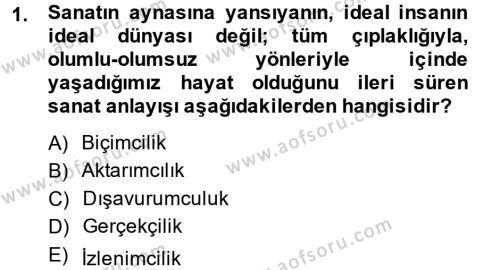 İngilizce Öğretmenliği Bölümü 4. Yarıyıl Güzel Sanatlar Dersi 2015 Yılı Bahar Dönemi Ara Sınavı 1. Soru