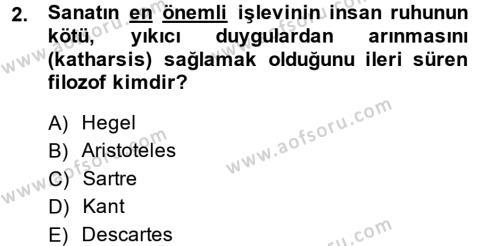 İngilizce Öğretmenliği Bölümü 4. Yarıyıl Güzel Sanatlar Dersi 2015 Yılı Bahar Dönemi Ara Sınavı 2. Soru