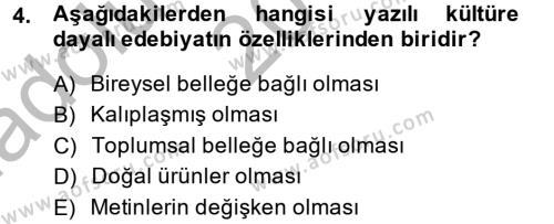 İngilizce Öğretmenliği Bölümü 4. Yarıyıl Güzel Sanatlar Dersi 2015 Yılı Bahar Dönemi Ara Sınavı 4. Soru