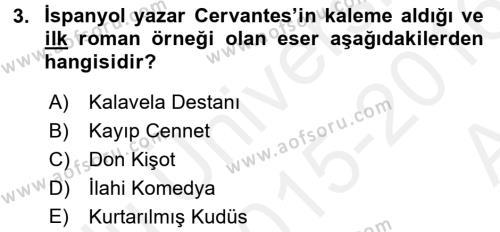 Felsefe Bölümü 4. Yarıyıl Güzel Sanatlar Dersi 2016 Yılı Bahar Dönemi Ara Sınavı 3. Soru