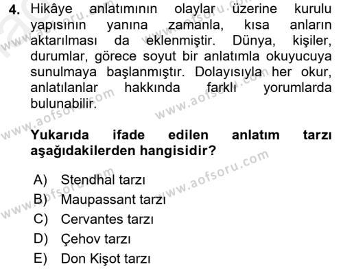Felsefe Bölümü 4. Yarıyıl Güzel Sanatlar Dersi 2016 Yılı Bahar Dönemi Ara Sınavı 4. Soru
