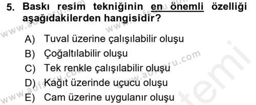 Felsefe Bölümü 4. Yarıyıl Güzel Sanatlar Dersi 2016 Yılı Bahar Dönemi Ara Sınavı 5. Soru