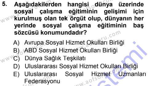 Sosyal Bilimler Bölümü 1. Yarıyıl Sosyal Hizmete Giriş Dersi 2013 Yılı Güz Dönemi Dönem Sonu Sınavı 5. Soru