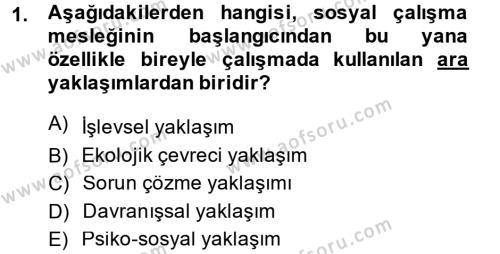 Sosyal Hizmete Giriş Dersi 2013 - 2014 Yılı Ara Sınavı 1. Soru