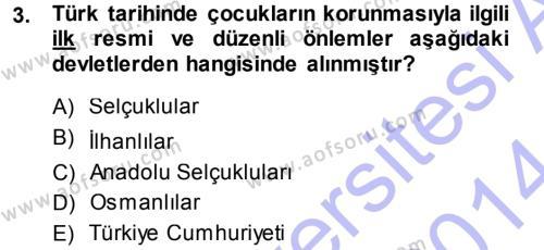 Sosyal Hizmete Giriş Dersi 2013 - 2014 Yılı Dönem Sonu Sınavı 3. Soru