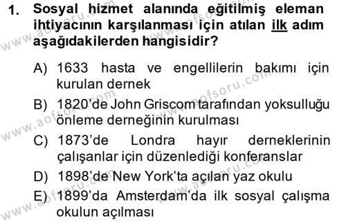 Sosyal Bilimler Bölümü 1. Yarıyıl Sosyal Hizmete Giriş Dersi 2015 Yılı Güz Dönemi Ara Sınavı 1. Soru
