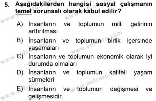 Sosyal Hizmet Bölümü 1. Yarıyıl Sosyal Hizmete Giriş Dersi 2016 Yılı Güz Dönemi Ara Sınavı 5. Soru