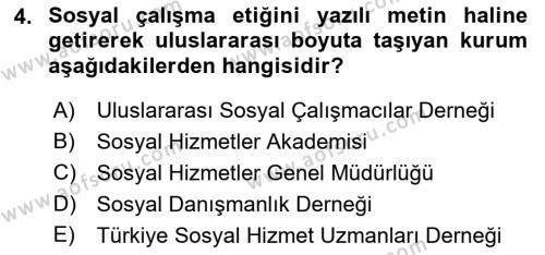 Sosyal Hizmete Giriş Dersi 2018 - 2019 Yılı (Final) Dönem Sonu Sınav Soruları 4. Soru