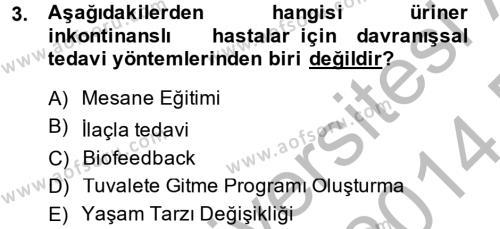 Sosyal Bilimler Bölümü 2. Yarıyıl Temel Sağlık Hizmetleri Dersi 2014 Yılı Bahar Dönemi Dönem Sonu Sınavı 3. Soru