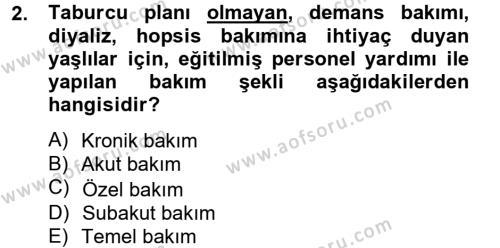 Yaşlı Bakımı Bölümü 2. Yarıyıl Temel Bakım Hizmetleri Dersi 2013 Yılı Bahar Dönemi Ara Sınavı 2. Soru