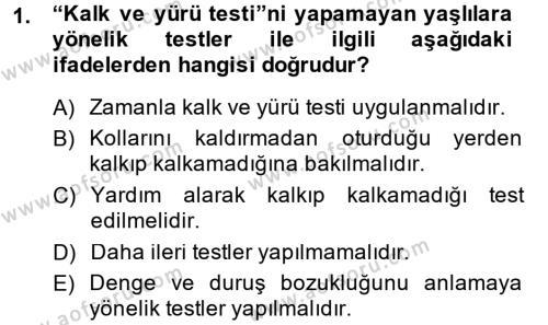 Yaşlı Bakımı Bölümü 2. Yarıyıl Temel Bakım Hizmetleri Dersi 2014 Yılı Bahar Dönemi Ara Sınavı 1. Soru