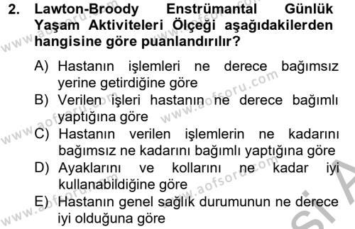 Temel Bakım Hizmetleri Dersi 2014 - 2015 Yılı Ara Sınavı 2. Soru