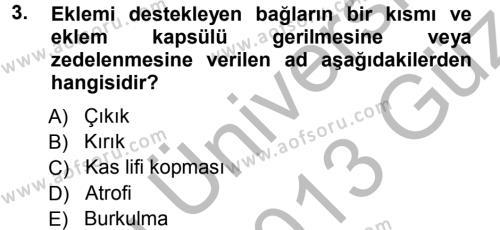 Yaşlı ve Hasta Bakım Hizmetleri Dersi 2012 - 2013 Yılı Ara Sınavı 3. Soru