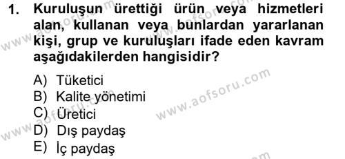 Sosyal Bilimler Bölümü 4. Yarıyıl Sosyal Hizmet Yönetimi Dersi 2013 Yılı Bahar Dönemi Ara Sınavı 1. Soru
