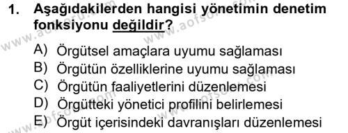 Sosyal Hizmet Bölümü 4. Yarıyıl Sosyal Hizmet Yönetimi Dersi 2014 Yılı Bahar Dönemi Tek Ders Sınavı 1. Soru