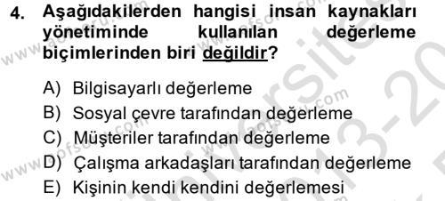 Sosyal Hizmet Bölümü 4. Yarıyıl Sosyal Hizmet Yönetimi Dersi 2014 Yılı Bahar Dönemi Tek Ders Sınavı 4. Soru