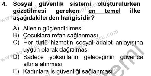 Sosyal Hizmet Bölümü 4. Yarıyıl Sosyal Hizmet Mevzuatı Dersi 2013 Yılı Bahar Dönemi Ara Sınavı 4. Soru