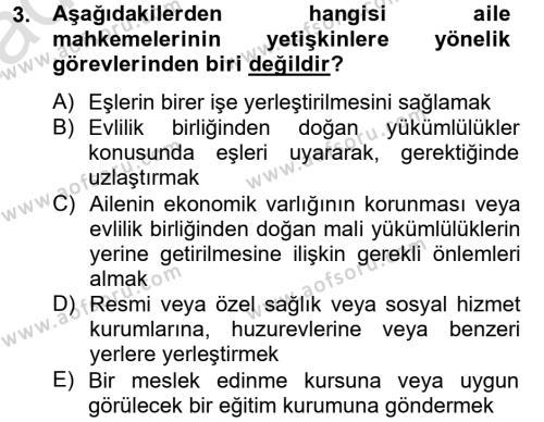 Sosyal Bilimler Bölümü 4. Yarıyıl Sosyal Hizmet Mevzuatı Dersi 2014 Yılı Bahar Dönemi Tek Ders Sınavı 3. Soru