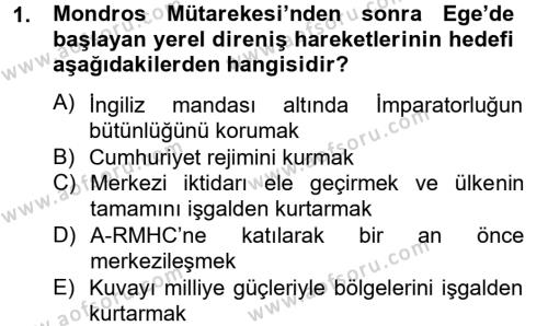 Yerel Yönetimler Bölümü 2. Yarıyıl Türk Siyasal Hayatı Dersi 2013 Yılı Bahar Dönemi Ara Sınavı 1. Soru