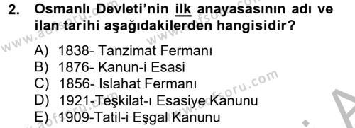Türk Siyasal Hayatı Dersi 2012 - 2013 Yılı Ara Sınavı 2. Soru