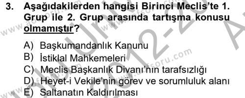 Türk Siyasal Hayatı Dersi 2012 - 2013 Yılı Ara Sınavı 3. Soru