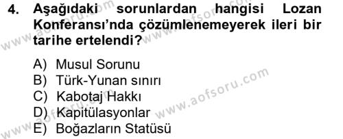 Yerel Yönetimler Bölümü 2. Yarıyıl Türk Siyasal Hayatı Dersi 2013 Yılı Bahar Dönemi Ara Sınavı 4. Soru