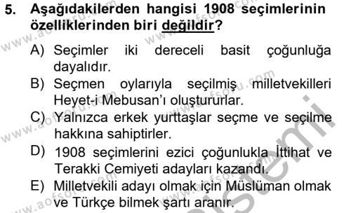 Türk Siyasal Hayatı Dersi Ara Sınavı Deneme Sınav Soruları 5. Soru