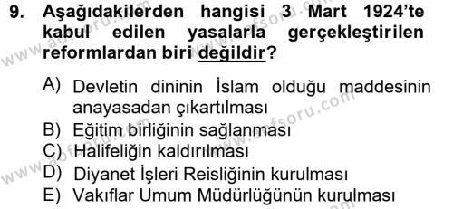 Türk Siyasal Hayatı Dersi Ara Sınavı Deneme Sınav Soruları 9. Soru
