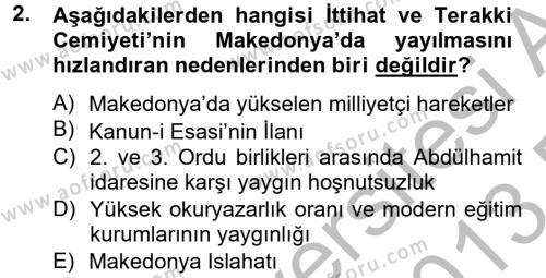 Uluslararası İlişkiler Bölümü 2. Yarıyıl Türk Siyasal Hayatı Dersi 2013 Yılı Bahar Dönemi Dönem Sonu Sınavı 2. Soru