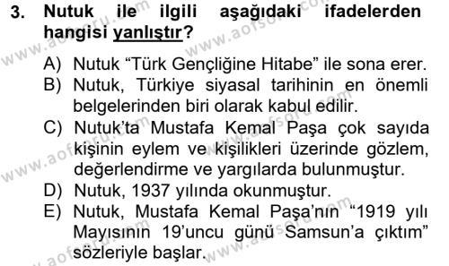 Türk Siyasal Hayatı Dersi 2012 - 2013 Yılı Dönem Sonu Sınavı 3. Soru