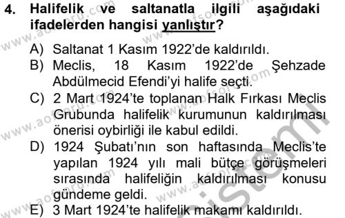 Türk Siyasal Hayatı Dersi 2012 - 2013 Yılı Dönem Sonu Sınavı 4. Soru