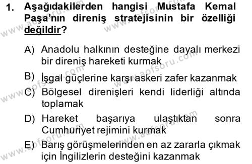 Sosyoloji Bölümü 2. Yarıyıl Türk Siyasal Hayatı Dersi 2014 Yılı Bahar Dönemi Ara Sınavı 1. Soru