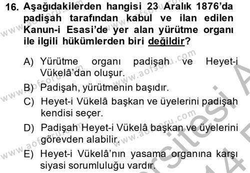Türk Siyasal Hayatı Dersi Ara Sınavı Deneme Sınav Soruları 16. Soru
