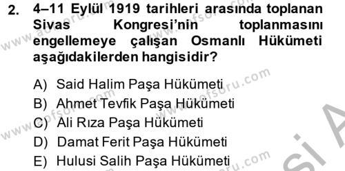 Sosyoloji Bölümü 2. Yarıyıl Türk Siyasal Hayatı Dersi 2014 Yılı Bahar Dönemi Ara Sınavı 2. Soru