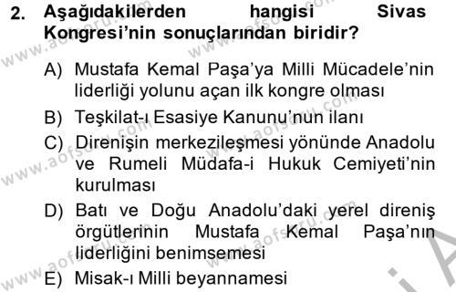 Türk Siyasal Hayatı Dersi 2013 - 2014 Yılı Dönem Sonu Sınavı 2. Soru
