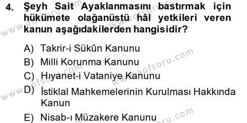 Türk Siyasal Hayatı Dersi 2013 - 2014 Yılı Dönem Sonu Sınavı 4. Soru