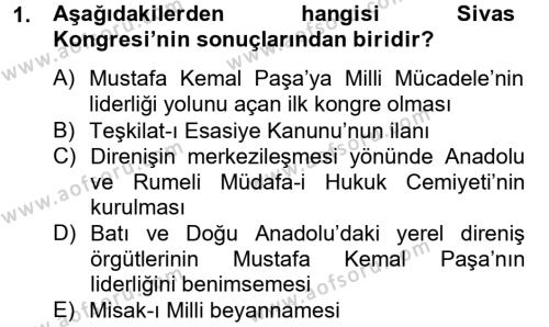 Sosyoloji Bölümü 2. Yarıyıl Türk Siyasal Hayatı Dersi 2014 Yılı Bahar Dönemi Tek Ders Sınavı 1. Soru