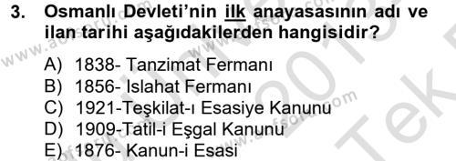 Türk Siyasal Hayatı Dersi 2013 - 2014 Yılı Tek Ders Sınavı 3. Soru