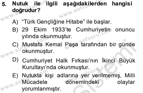 Felsefe Bölümü 6. Yarıyıl Türk Siyasal Hayatı Dersi 2014 Yılı Bahar Dönemi Tek Ders Sınavı 5. Soru