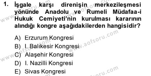 Uluslararası İlişkiler Bölümü 2. Yarıyıl Türk Siyasal Hayatı Dersi 2015 Yılı Bahar Dönemi Ara Sınavı 1. Soru