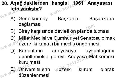 Türk Siyasal Hayatı Dersi Ara Sınavı Deneme Sınav Soruları 20. Soru