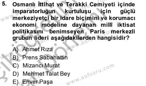 Uluslararası İlişkiler Bölümü 2. Yarıyıl Türk Siyasal Hayatı Dersi 2015 Yılı Bahar Dönemi Ara Sınavı 5. Soru