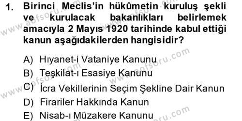 Türk Siyasal Hayatı Dersi 2014 - 2015 Yılı Dönem Sonu Sınavı 1. Soru