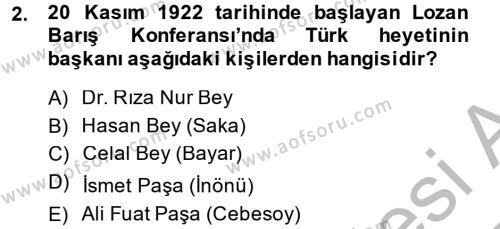 Türk Siyasal Hayatı Dersi 2014 - 2015 Yılı Dönem Sonu Sınavı 2. Soru