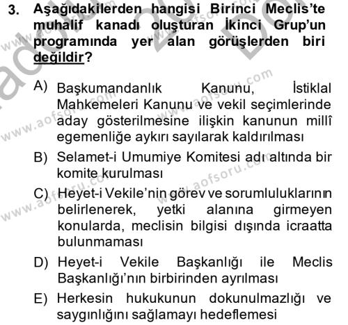 Türk Siyasal Hayatı Dersi 2014 - 2015 Yılı Dönem Sonu Sınavı 3. Soru