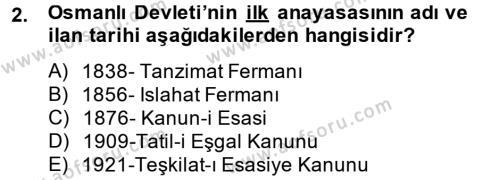 Türk Siyasal Hayatı Dersi 2014 - 2015 Yılı Tek Ders Sınav Soruları 2. Soru